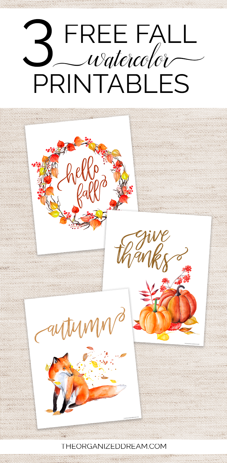 3 free fall watercolor printables! #printables #fall #homedecor #watercolorart