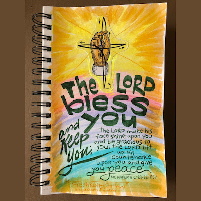 "The Benediction, ""The Lord bless you and keep you; the Lord make his face to shine upon you and be gracious to you; the Lord lift up his countenance upon you and give you peace."" Numbers 6:24-26 ESV Bible verse hand lettering with sketch of how to make the sign of the cross hand gesture—the oldest symbol of Christianity."