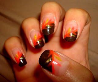 crystals nail designs brown tips with yellow and orange