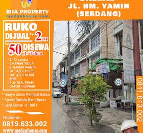Ruko dijual atau di sewakan di daerah jl. HM.Yamin / Jl.Serdang medan <del>Rp 2,5  Miliar</del> <price>Rp 2 Miliar</price> <code>RUKOSERDANG</code>