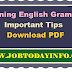 Important Tips for Learning English Grammar PDF Free Download