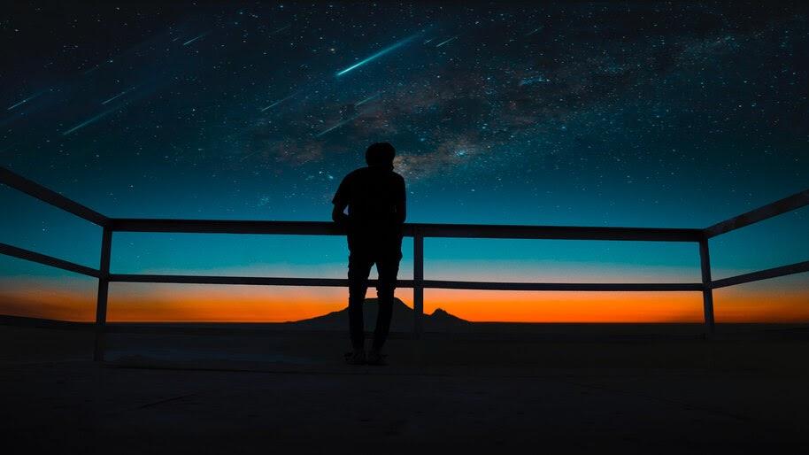 Night, Sky, Stars, Scenery, Silhouette, Comet, Meteor, 8K, #4.1936