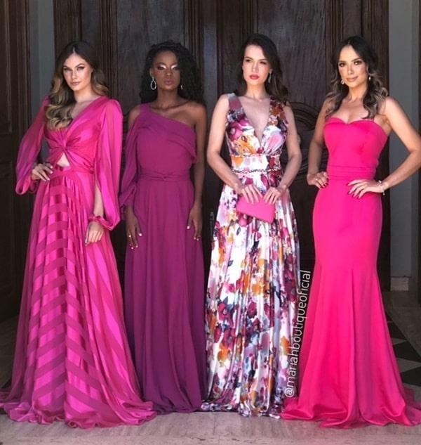 madrinhas de vestido fucsia e pink paleta