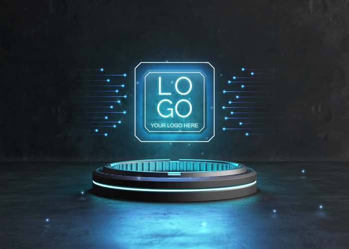 Futuristic Pedestal Logo Mockup