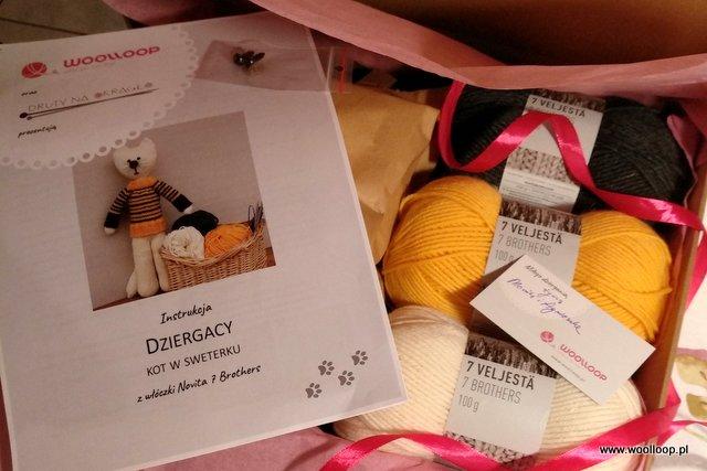 Zawartość pudełka z pakietem dziewiarskim Kot w swetereku od woolloop