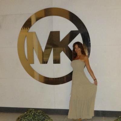 Christine Michaels Michael Kors strapless nude dress