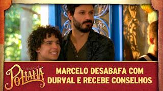 Marcelo desabafa com Durval e recebe conselhos em As Aventuras de Poliana