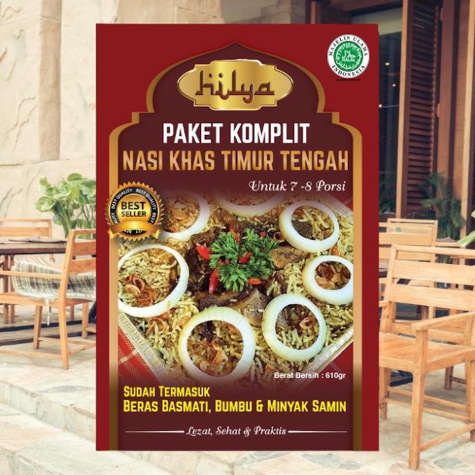 Paket Komplit Nasi Khas Timur Tengah Kemasan Dus (untuk 7-8 porsi) Berat Bersih: 610 g Merek Hilya