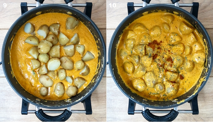 aloo butter masala recipe is shown step by step
