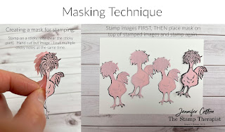 See the full card on the blog post.  Stampin' Up!'s Hey Birthday Chick Bundle and Hey Chick Bundle.  I demonstrated this card on the video (link on blog) including the masking technique used on this card.  #StampinUp #StampTherapist #HeyChick #HeyBirthdayChick