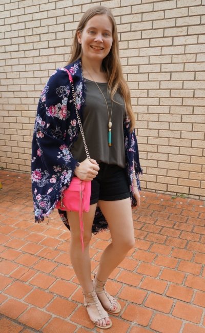navy floral cocoon kimono black denim shorts olive tee neon pink bag | away from blue