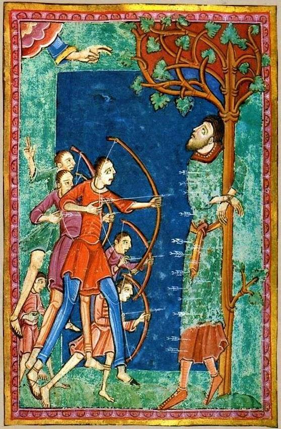 Santo Edmundo martirizado. Iluminura medieval