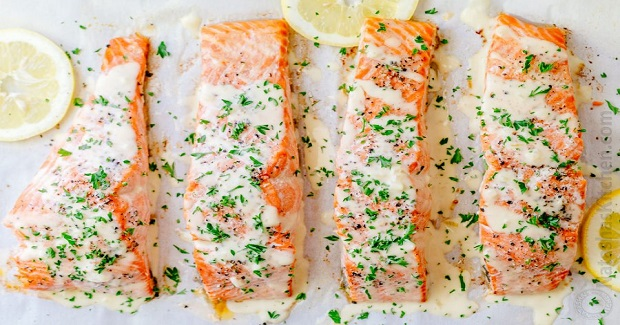 Oven Baked Salmon With Lemon Cream Sauce Recipe