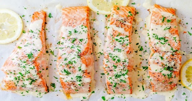 Oven Baked Salmon With Lemon Cream Sauce Recipe - Kusina Master ...
