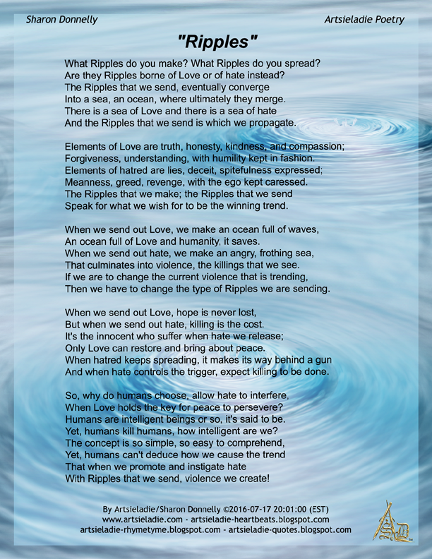 Ripples Poem By Artsieladie Sharon Donnelly