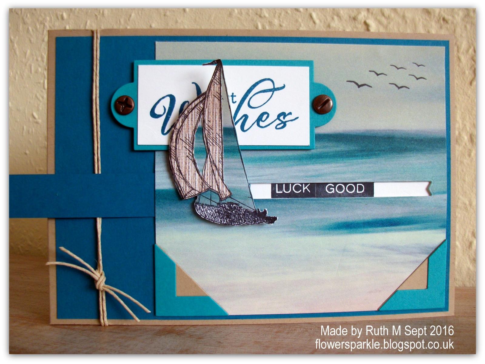 flower sparkle sailboat slider best wishes card