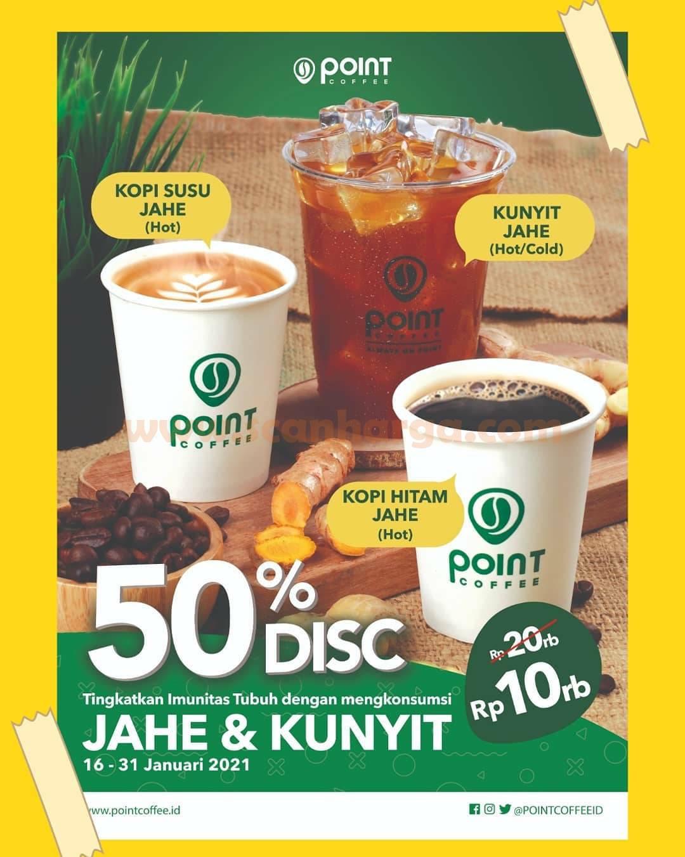 POINT COFEE Promo Diskon 50% untuk Kopi Susu, Kunyit, Kopi Hitam Jahe cuma Rp 10K
