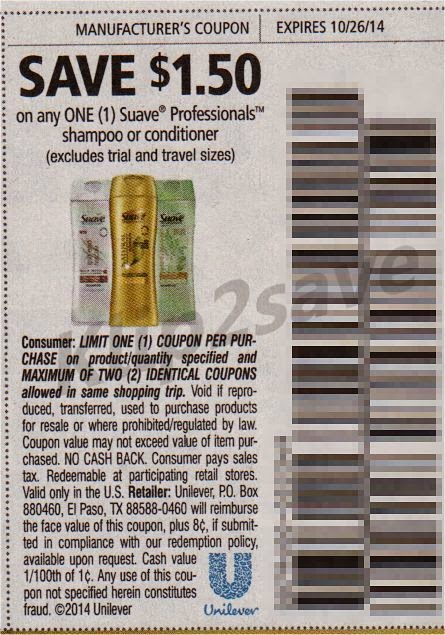 Printable Suave Coupons for Shampoo, Conditioner, Body Wash, Lotion and More
