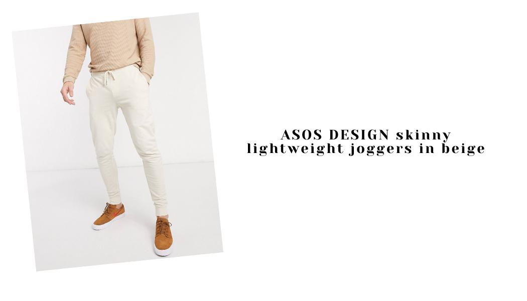 ASOS DESIGN skinny lightweight joggers in beige