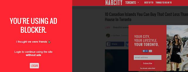 Narcity Toronto blocks users with ad blocker