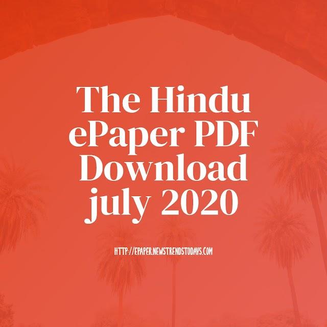 The Hindu ePaper PDF Download july 2020