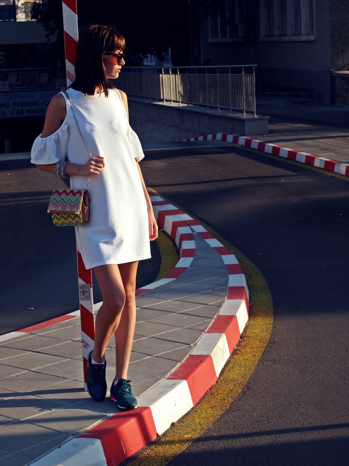 outfit summer white zara off the shoulder dress ss 2016 new balance capsule glam sneakers