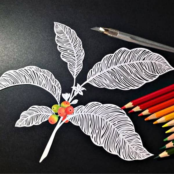 paper cutting of a coffee plant with cherries and flowers