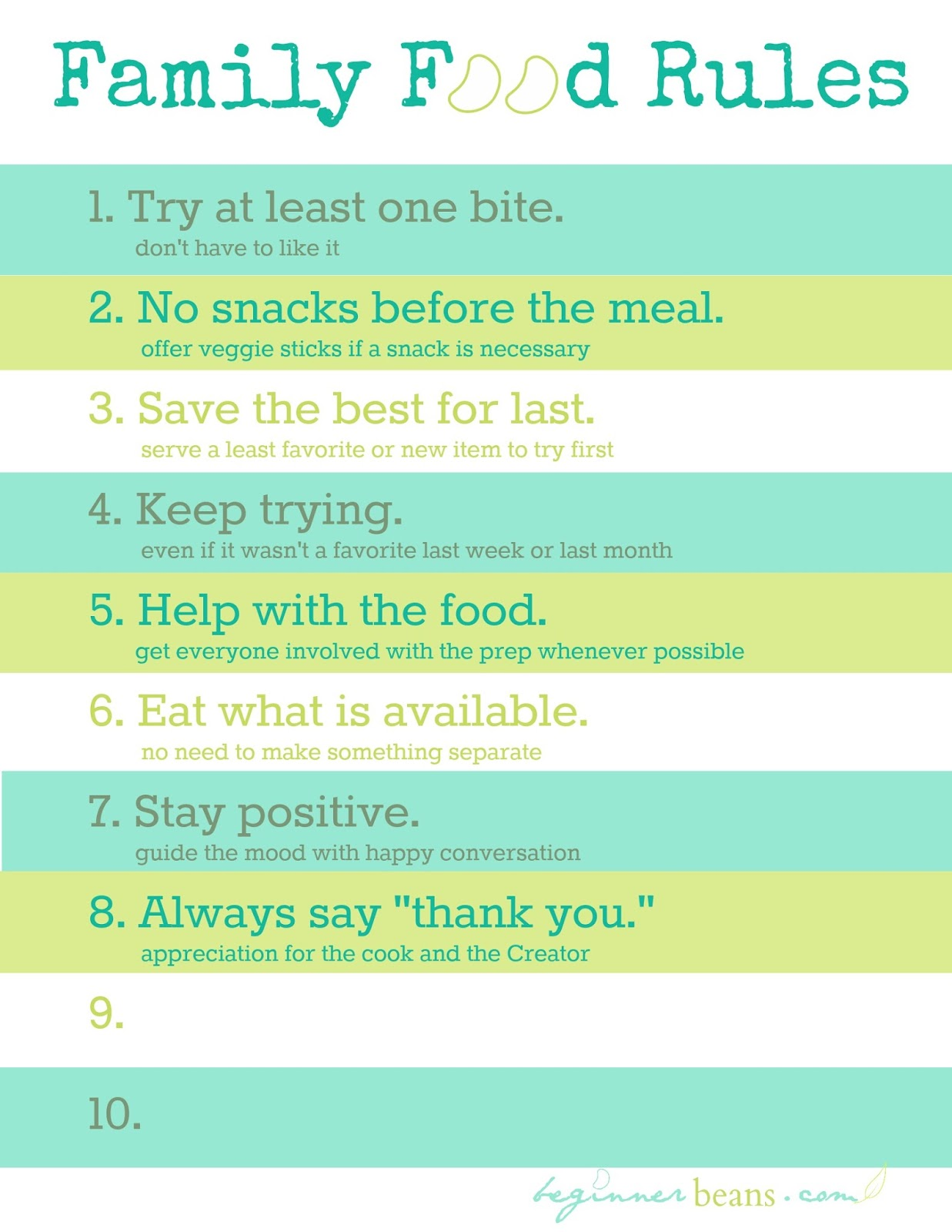 Family Food Rules for Picky-Eaters