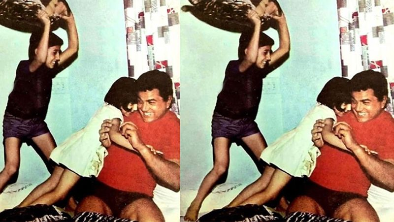 sunny-deol-shared-photo-fighting-with-pillow-father-dharmendra-and-sister