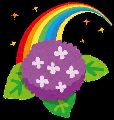 梅雨のイラスト「虹とあじさい」