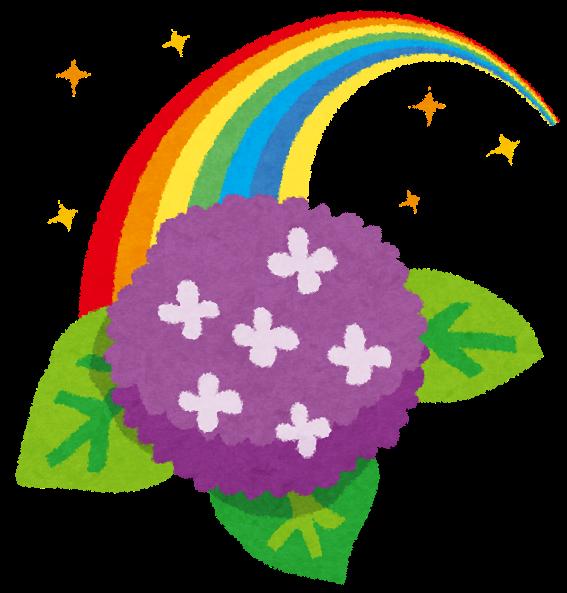 梅雨のイラスト虹とあじさい かわいいフリー素材集 いらすとや