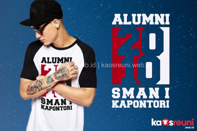Contoh Desain Kaos Reuni Sablon Raglan Hitam Putih Alumni 2010 SMAN 1 Kapontori