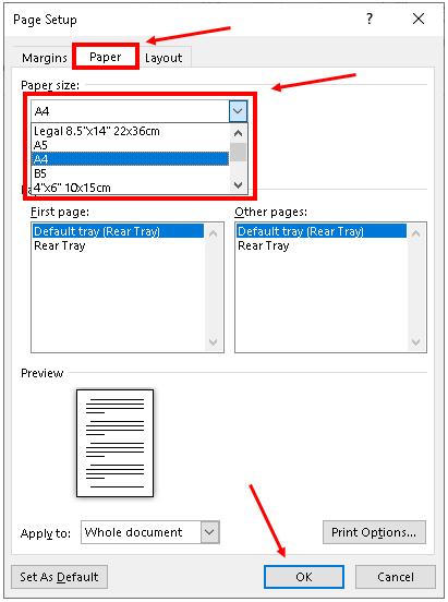 Mengatur Kertas Pada Microsoft Word