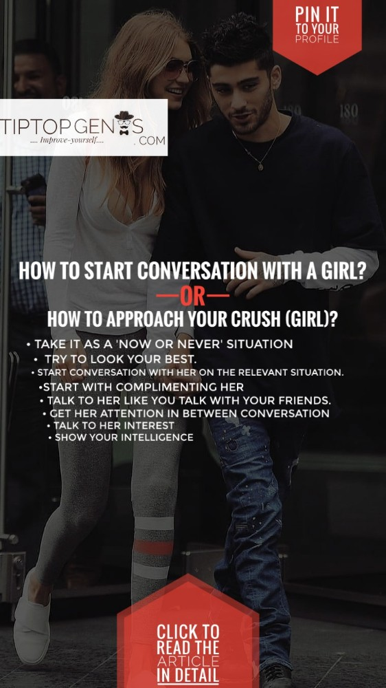 A pin image of showing title How to talk to a girl for the first time.