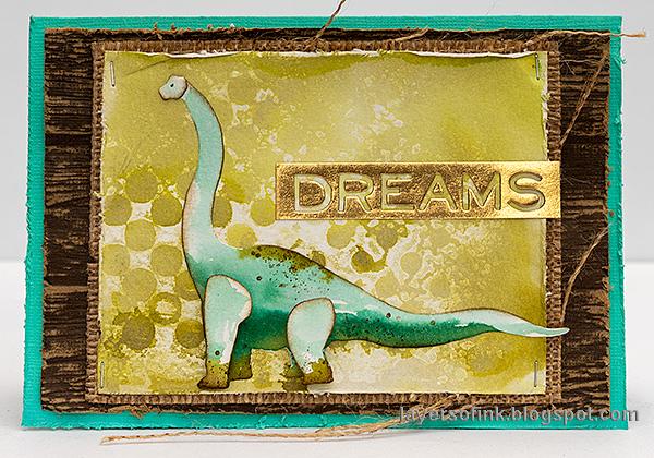 Layers of ink - Dinosaur Cards Tutorial by Anna-Karin Evaldsson. Brachiosaurus card.