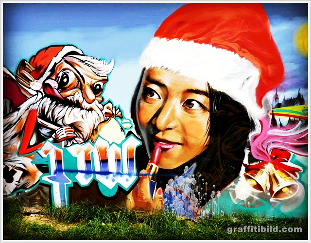 Weihnachten, graffiti, merry christmas street art