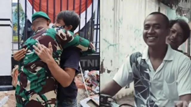 Viral Prajurit TNI Bertemu Teman Lamanya Kuli Bangunan