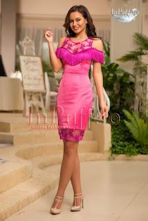 rochie roz cu franjuri