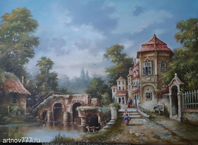 Картина Пейзаж с мостом и набережной