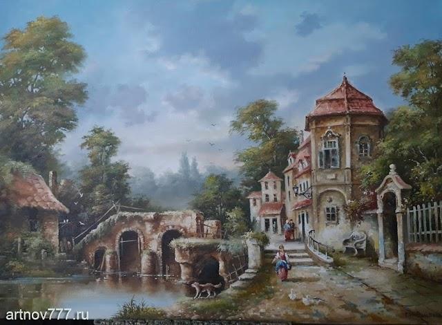 Пейзаж с мостом и набережной
