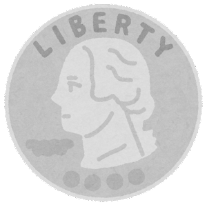 25セント硬貨のイラスト(表)