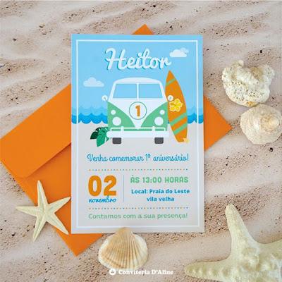 festa surf convite personalizado