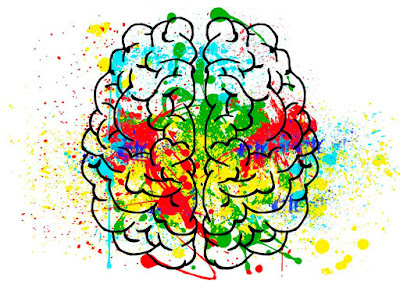 Cerebro con salpicaduras de diferentes colores
