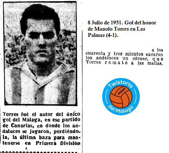 Un gol del Málaga en 1951.
