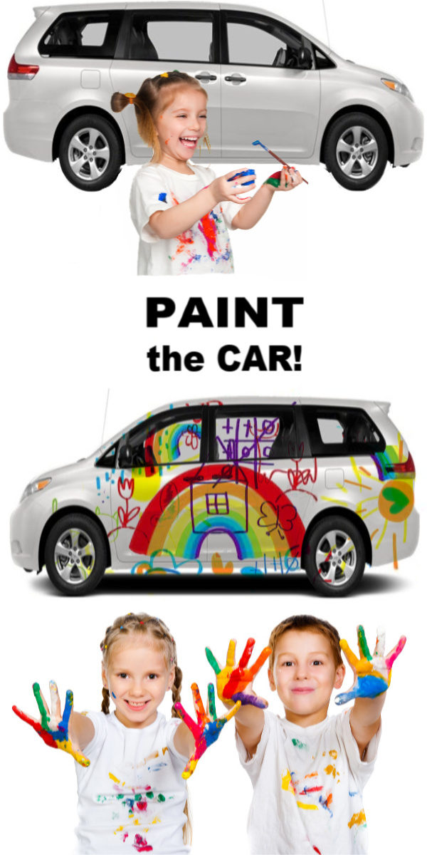Have bored kids?  Let them paint and wash the car!  My kids loved turning our car into a canvas! #growingajeweledrose #paintingideas #paintthecar #carpaintingforkids #sidewalkchalkideas #sidewalkchalkpaint #summeractivitiesforkids #bigart #sidewalkchalk #summerbucketlist #artactivitiesforkids