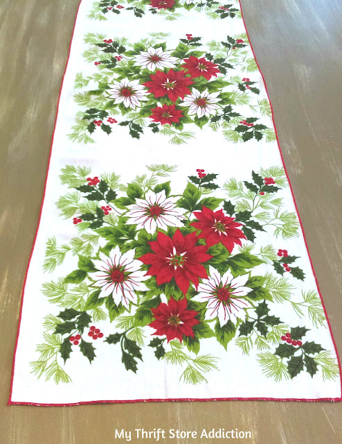 vintage poinsettia table runner
