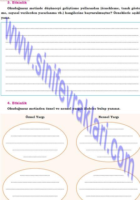 Dörtel Yayınları 8. Sınıf Türkçe Çalışma Kitabı Cevapları Sayfa 43