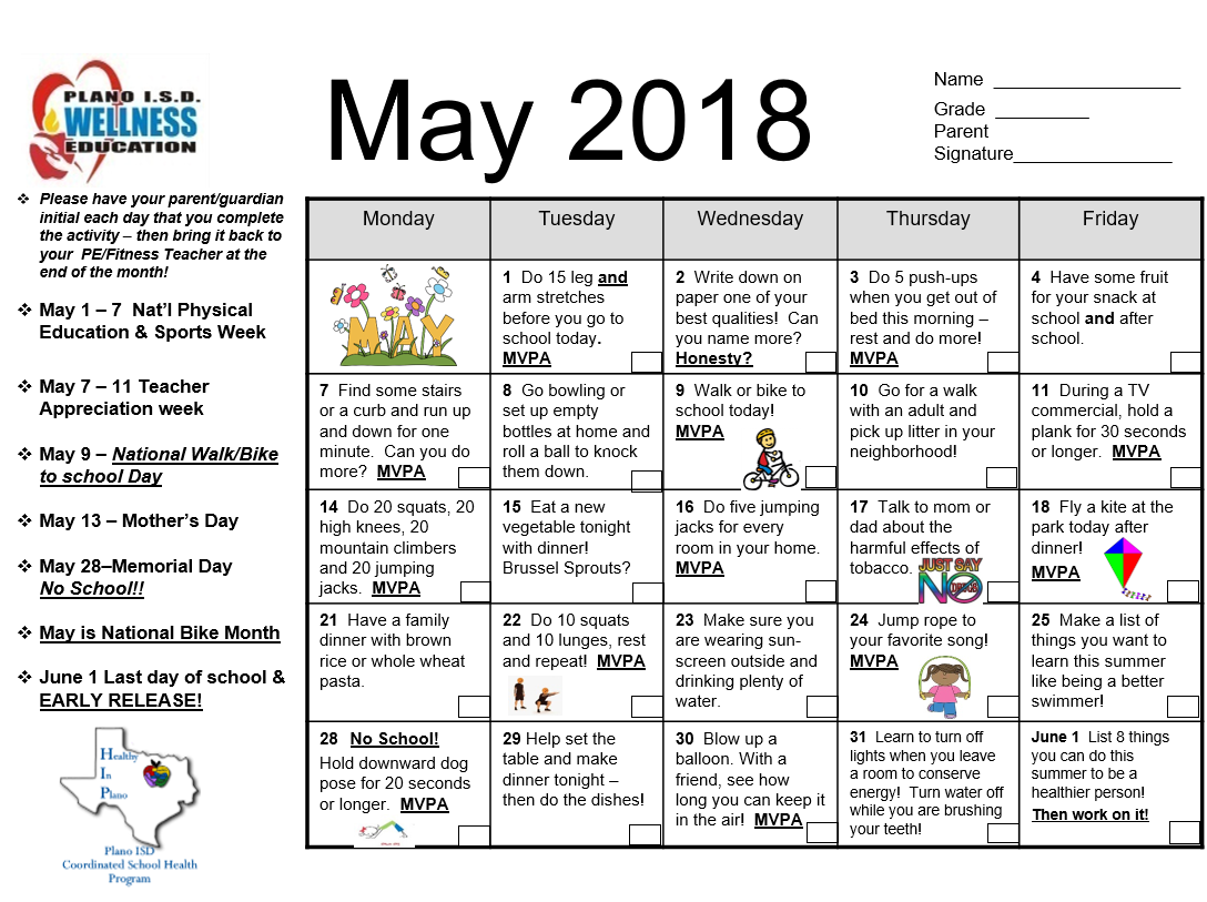 Christie PE: May Fitness Calendar