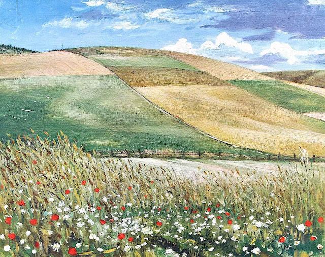 C.R.W. Nevinson art, farm fields and rolling hills