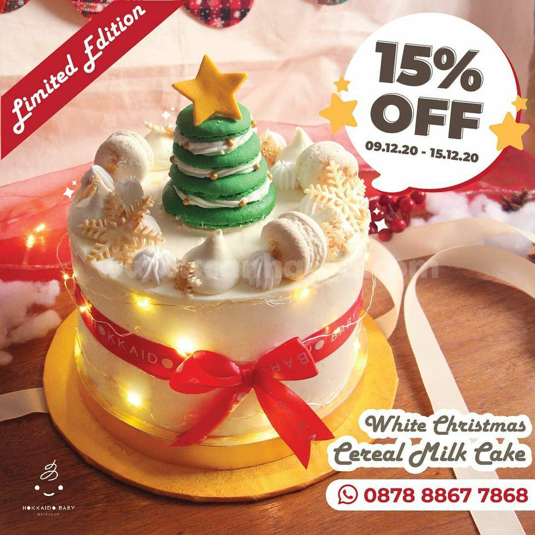 Promo Hokkaido Baby Diskon 15% tiap Pembelian White Christmas Cereal Milk Cake